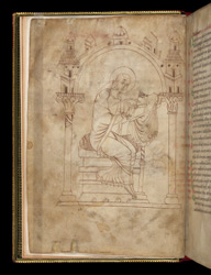Full-Page Drawing Of St. Paschasius Radbertus, In A Volume Of Works By Paschasius Radbertus, Augustine, And Lanfranc